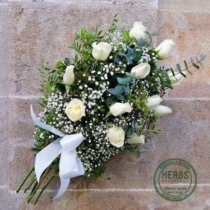 DECEASED BOUQUET WHITE ROSES