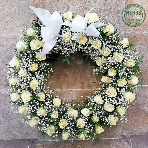 CROWN OF WHITE ROSES FOR FUNERAL